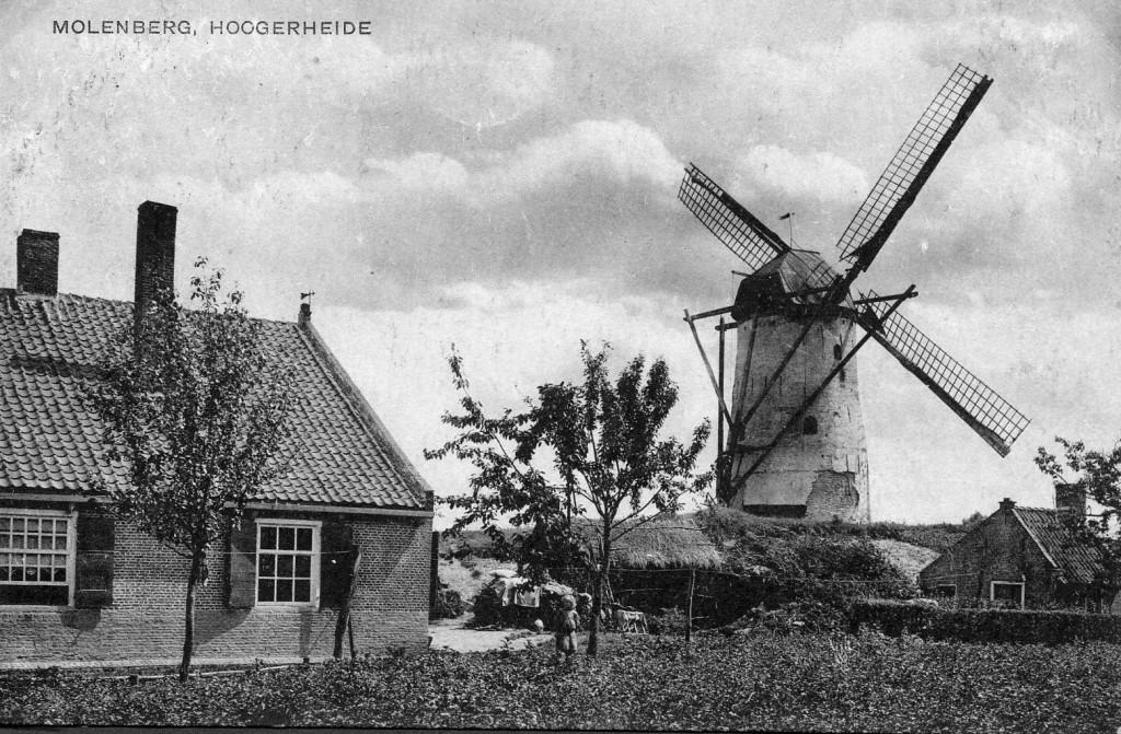 De molen aan de Huijbergseweg, waar thans de Molenstraat is.