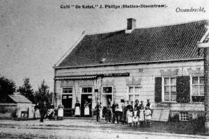 Ossendrecht, café de Ketel, halte stoomtram.